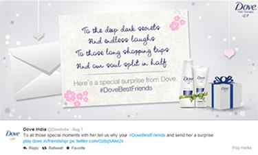 Dove surprises friends on social media